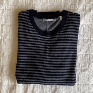 Vince Double Layer Navy Gray Striped Sweater Sz L
